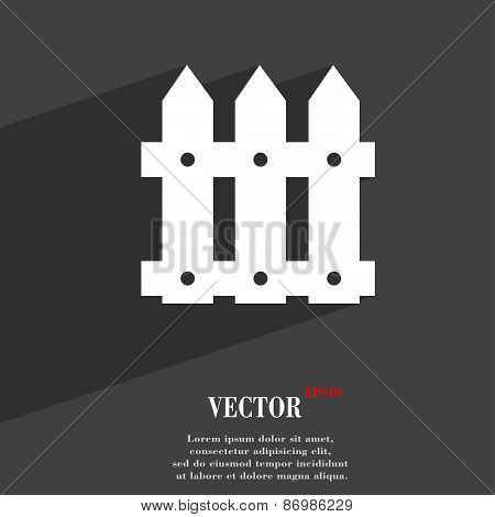 Fence Icon Symbol Flat Modern Web Design With Long Shadow And Space For Your Text. Vector