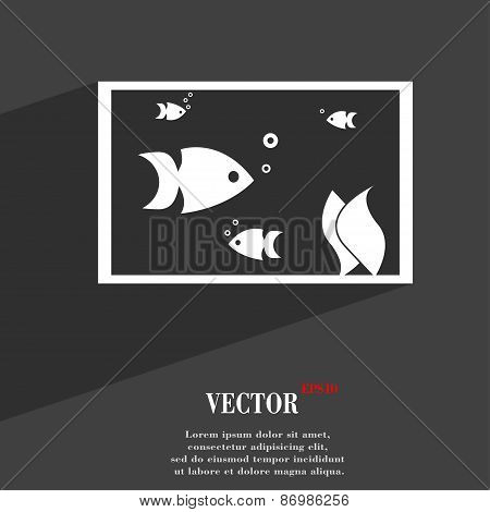 Aquarium, Fish In Water Icon Symbol Flat Modern Web Design With Long Shadow And Space For Your Text.