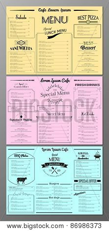 Set of menu design templates