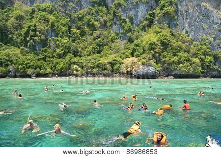 Tourists Enjoy With Snorkeling In A Tropical Sea At Phi Phi Island In Krabi