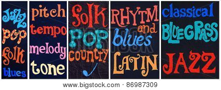 Collage of 5 images with painted music related words on a stucco wall. High resolution available individually.