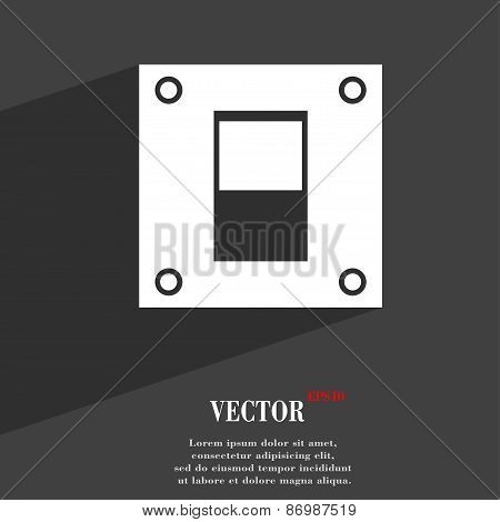 Power Switch Icon Symbol Flat Modern Web Design With Long Shadow And Space For Your Text. Vector