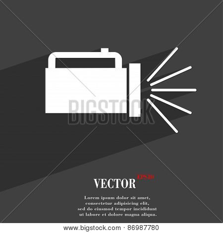 Flashlight Icon Symbol Flat Modern Web Design With Long Shadow And Space For Your Text. Vector
