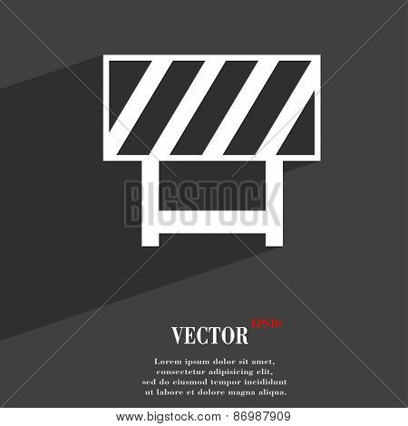 Road Barrier Icon Symbol Flat Modern Web Design With Long Shadow And Space For Your Text. Vector