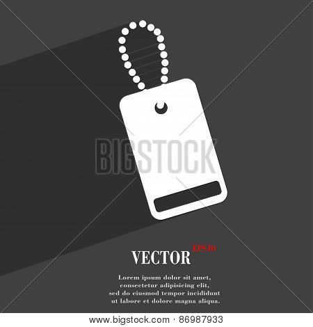 Army Chains Icon Symbol Flat Modern Web Design With Long Shadow And Space For Your Text. Vector