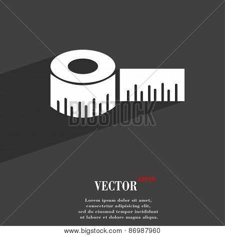 Roulette Construction Icon Symbol Flat Modern Web Design With Long Shadow And Space For Your Text. V
