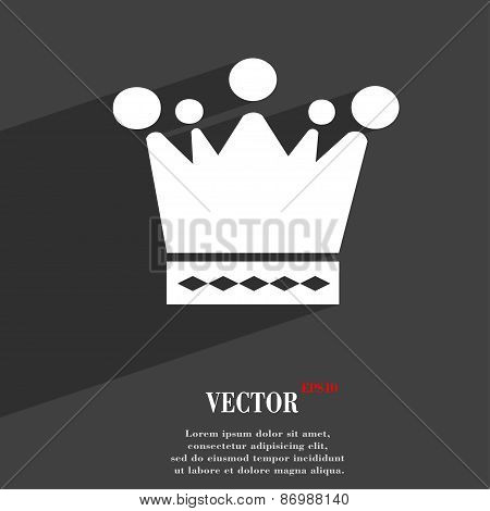Crown Icon Symbol Flat Modern Web Design With Long Shadow And Space For Your Text. Vector
