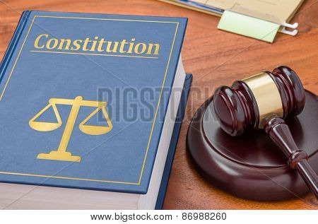 A Law Book With A Gavel - Constitution