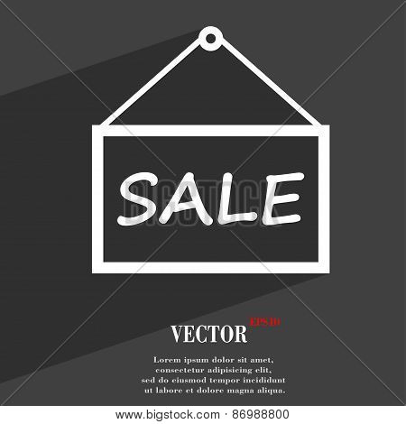 Sale Tag Icon Symbol Flat Modern Web Design With Long Shadow And Space For Your Text. Vector