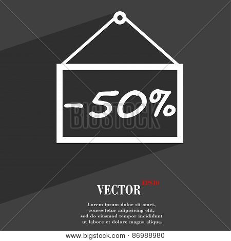 50 Discount Icon Symbol Flat Modern Web Design With Long Shadow And Space For Your Text. Vector
