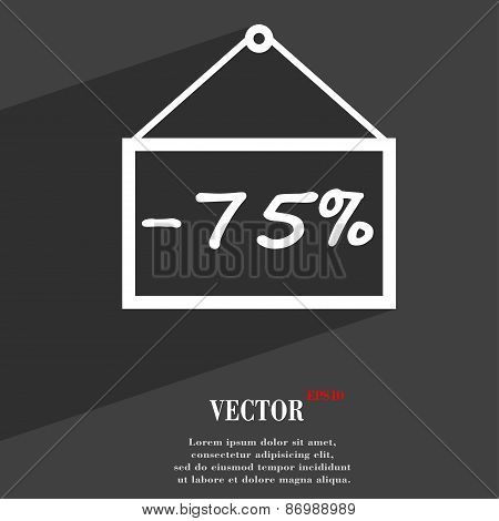 75 Discount Icon Symbol Flat Modern Web Design With Long Shadow And Space For Your Text. Vector