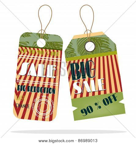 Set, collection of two, vintage, beautiful, isolated, hanging stickers with text Sale, pattern, whit