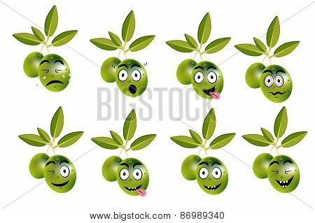 Funny set, collection of olives with leaves and face - sadness, crying, surprise, anger, joy, disgus