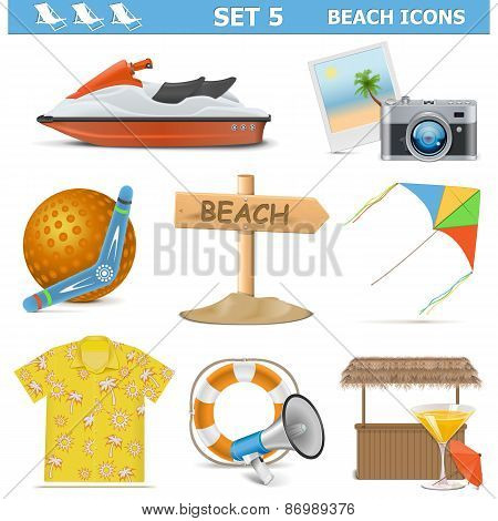 Vector Beach Icons Set 5
