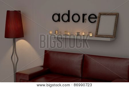 Adore word on the wall in the living room