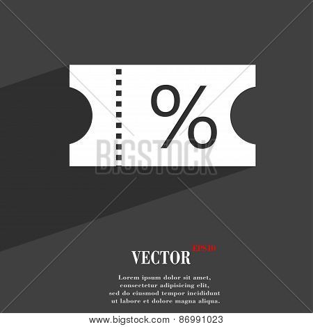 Ticket Discount Icon Symbol Flat Modern Web Design With Long Shadow And Space For Your Text. Vector