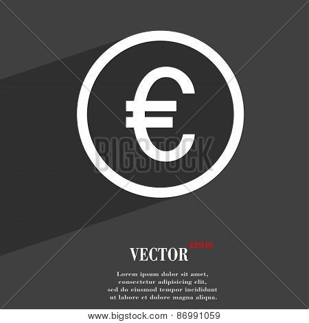 Euro Icon Symbol Flat Modern Web Design With Long Shadow And Space For Your Text. Vector