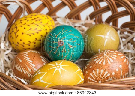 Hand painted Easter Eggs In Brown Basket