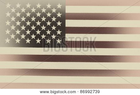 Flag Of United States Of America In Vintage Style
