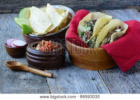 Steak Tacos On Wood Background