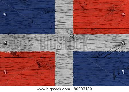 Dominican Republic National Flag Painted Old Oak Wood Fastened