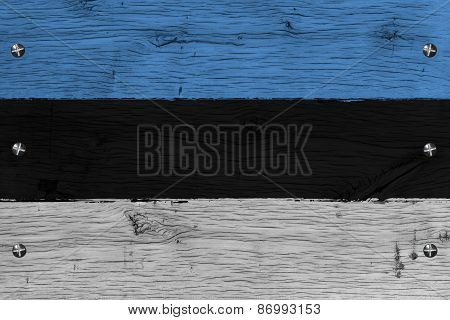 Estonia National Flag Painted Old Oak Wood Fastened