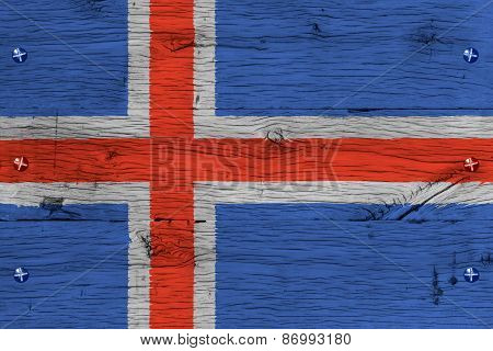 Iceland National Flag Painted Old Oak Wood Fastened