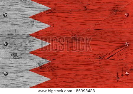 Bahrain National Flag Painted Old Oak Wood Fastened