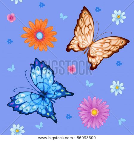 Background Of Colorful Butterflies And Flowers