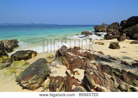 Rock Beach With Sea At Koh Khai Nok