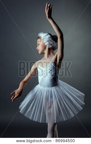 Nice little girl dancing role of White Swan