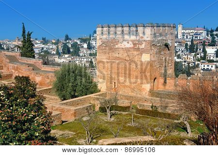 Tower Of Alhambra Palace In Granada