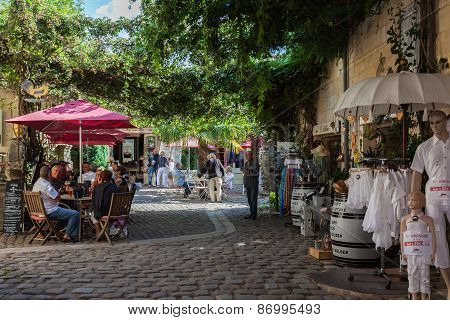 Square With Cafes And Shops In Saint Emilion