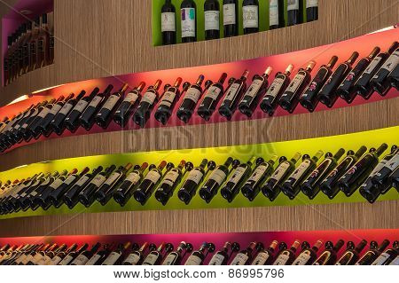Bottles Of Wine In The Store