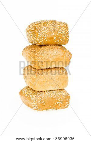 Wheat bun with sesame seeds in a row