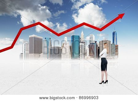 Businesswoman Is Thinking Of Opportunities In A Big City. New York Background.