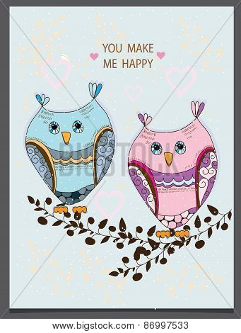 beautiful decorative background with two owls