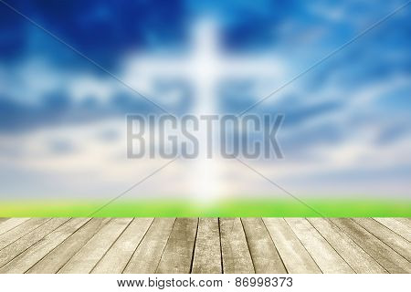 Abstract Jesus On The Cross Blue Sky With Wooden Paving.