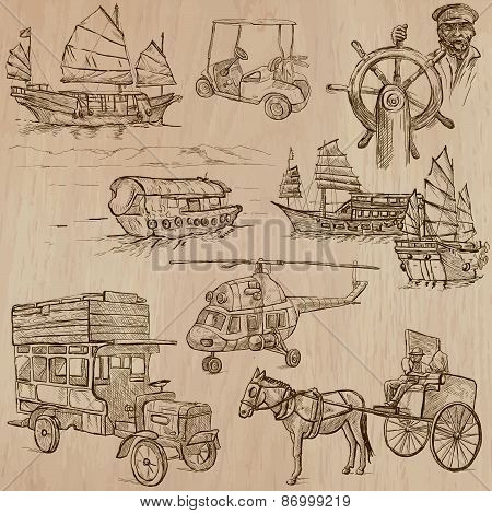 Transport Pack - Hand Drawn Vectors, Line Art