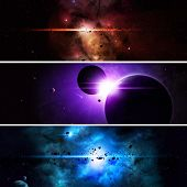 image of nebula  - abstract imaginary deep space nebula banners with planets and asteroids - JPG