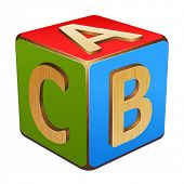 picture of letter b  - wooden cube with letters A - JPG