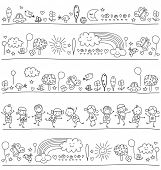 stock photo of nursery school child  - pattern for children with cute nature elements - JPG