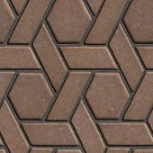 stock photo of parallelogram  - Brown Paving Slabs Built of parallelograms and hexagons - JPG