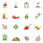 image of gene  - Gmo with genes modified food and warning information icons flat set isolated vector illustration - JPG
