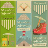 image of boot camp  - Mountain Climbing Placard Collection in Retro Design - JPG