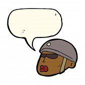 stock photo of policeman  - cartoon policeman head with speech bubble - JPG