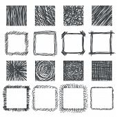 stock photo of squares  - Set of hand drawn squares - JPG