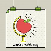 picture of biomedical  - Hanging poster or banner with red apple on globe stand for World Health Day concept - JPG