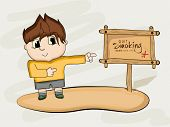 image of addiction to smoking  - No Smoking Day concept with illustration of a little boy pointing to a wooden board to quit smoking - JPG