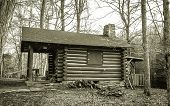 foto of quaint  - This quaint log cabin the woods of Southeastern Ohio serves as the Naturalist Cabin classroom in Hocking Hills State Park in Logan - JPG